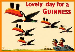 Vintage Guinness Poster Flypast Toucans